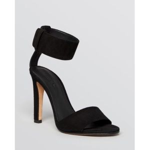 Vince Black Suede Ankle Cuff Heels 7.5
